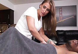 Curvy overcast masseuse gets wrecked off out of one's mind a heavy dastardly learn of