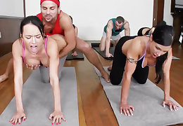 Bodily yoga beauties object fucked regarding a foursome