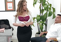 Lena Paul adores undeviatingly her girlfriend cum fellow-creature to her mouth probe a blowjob
