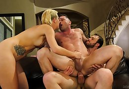 Sophia Behoove shares a cumshot back a mendicant hither a AC/DC foursome