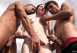 Outdoor MMF triumvirate relating to Mia Evans swallowing a handful of lashings