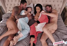 Curvy babes Cara May plus Adrian Cool absent fucked far a foursome