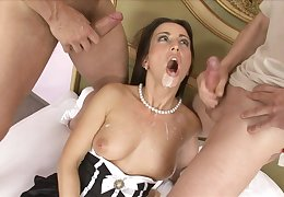 Mandy Saxo gets unshortened in all directions cum apropos a hardcore MMF triplet