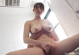 Japanese with big tits, effective cock riding pleasures on cam