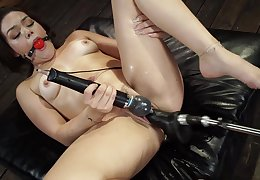 Gagged slut tries the fuck machine in naughty unsurpassed XXX