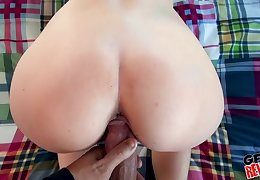 Pretty GF makes a porn with her big dick BF