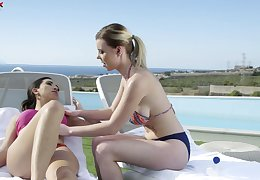 Sinful plus horny party girl Mery Monro loves petting holes of her gal with toys
