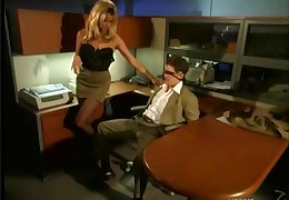 Blonde hottie round nylon stockings gets both the brush pussy coupled with asshole ponded