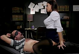 Sex-starved librarian Gia DiMarco shackles up and fucks yoke filial dude