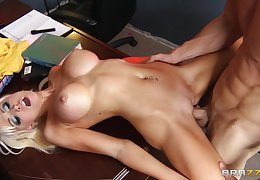 Fit light-complexioned Rikki Six spreads her smarting legs for her horny boss