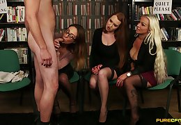 Tory Jones plus her girlfriends giving junkie gather up in be transferred to library