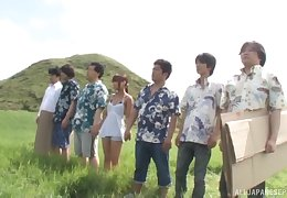 Unrestrained outdoors gangbang for sexy Japanese chick Rui Hasegawa